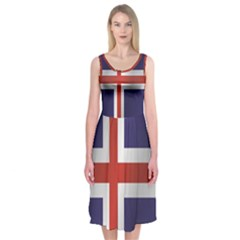 Flag Of Iceland Midi Sleeveless Dress