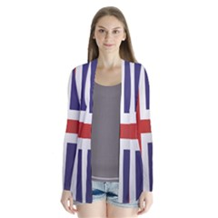 Flag Of Iceland Drape Collar Cardigan