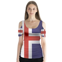 Flag Of Iceland Butterfly Sleeve Cutout Tee