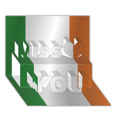 Flag Of Ireland Miss You 3D Greeting Card (7x5)