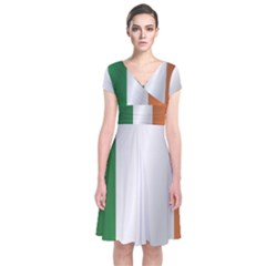 Flag Of Ireland Short Sleeve Front Wrap Dress