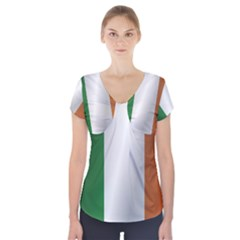 Flag Of Ireland Short Sleeve Front Detail Top