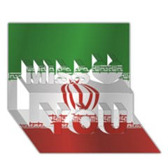 Flag Of Iran Miss You 3D Greeting Card (7x5)