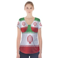Flag Of Iran Short Sleeve Front Detail Top