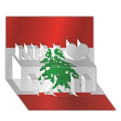 Flag Of Lebanon Miss You 3D Greeting Card (7x5)