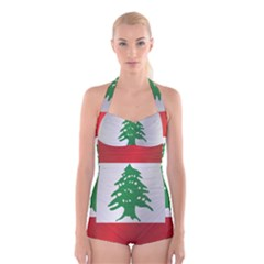 Flag Of Lebanon Boyleg Halter Swimsuit