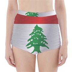 Flag Of Lebanon High-Waisted Bikini Bottoms