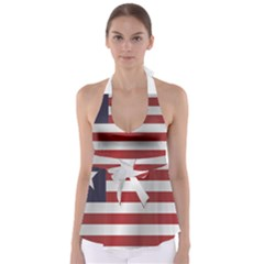 Flag Of Liberia Babydoll Tankini Top