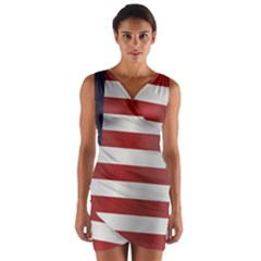 Flag Of Liberia Wrap Front Bodycon Dress