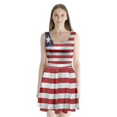 Flag Of Liberia Split Back Mini Dress