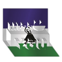 Flag Of Lesotho Miss You 3D Greeting Card (7x5)