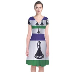 Flag Of Lesotho Short Sleeve Front Wrap Dress