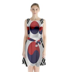 Flag Of South Korea Sleeveless Waist Tie Dress