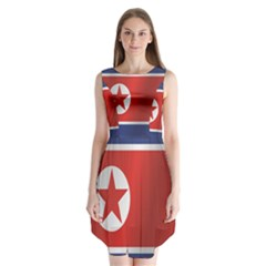 Flag Of North Korea Sleeveless Chiffon Dress