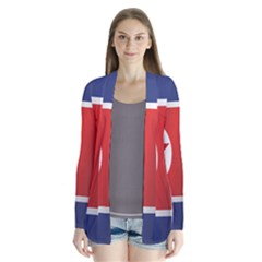 Flag Of North Korea Drape Collar Cardigan
