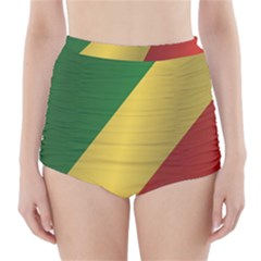 Flag Of Republic Of The Congo High-Waisted Bikini Bottoms