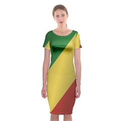 Flag Of Republic Of The Congo Classic Short Sleeve Midi Dress