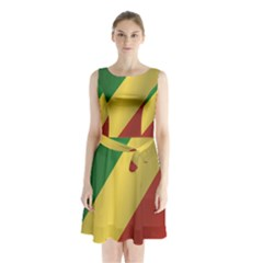 Flag Of Republic Of The Congo Sleeveless Waist Tie Dress