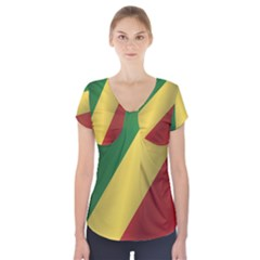 Flag Of Republic Of The Congo Short Sleeve Front Detail Top