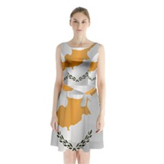Flag Of Cyprus Sleeveless Waist Tie Dress