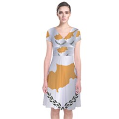 Flag Of Cyprus Short Sleeve Front Wrap Dress