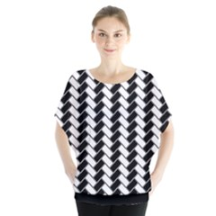 Black And White Herringbone Batwing Chiffon Blouse