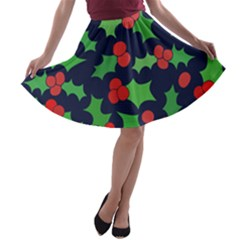 Holly Jolly Christmas A-line Skater Skirt
