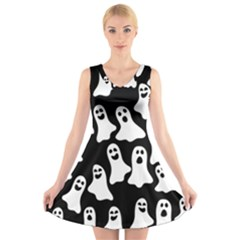 Halloween Ghosts V Neck Sleeveless Skater Dress