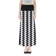 Black and White Herringbone Women s Maxi Skirt