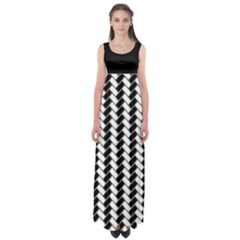 Black and White Herringbone Empire Waist Maxi Dress