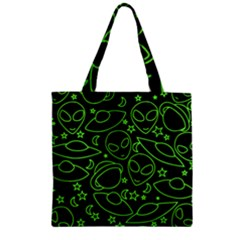 Alien Invasion  Zipper Grocery Tote Bag