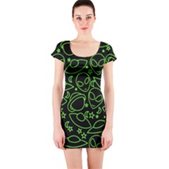 Alien Invasion  Short Sleeve Bodycon Dress