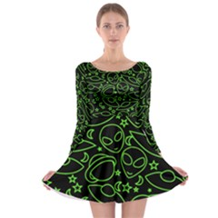 Alien Invasion  Long Sleeve Skater Dress