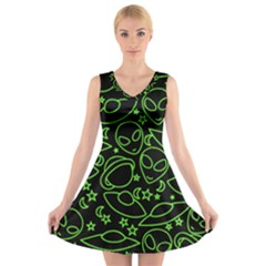 Alien Invasion  V-Neck Sleeveless Skater Dress