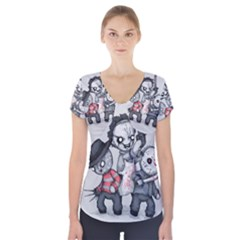 Horror Trifecta Plushie  Short Sleeve Front Detail Top