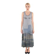Devils Tower Stamp And Phto Sleeveless Maxi Dress