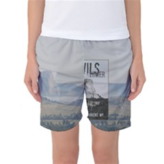 Devils Tower Stamp and Phto Women s Basketball Shorts