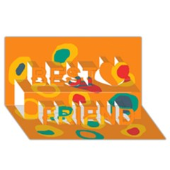 Orange abstraction Best Friends 3D Greeting Card (8x4)
