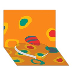 Orange abstraction Heart Bottom 3D Greeting Card (7x5)