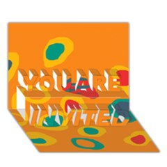 Orange abstraction YOU ARE INVITED 3D Greeting Card (7x5)