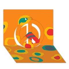 Orange abstraction Peace Sign 3D Greeting Card (7x5)