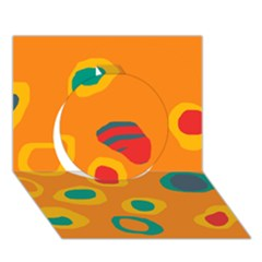 Orange abstraction Circle 3D Greeting Card (7x5)