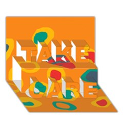 Orange abstraction TAKE CARE 3D Greeting Card (7x5)