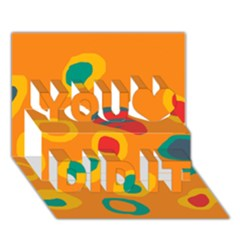 Orange abstraction You Did It 3D Greeting Card (7x5)