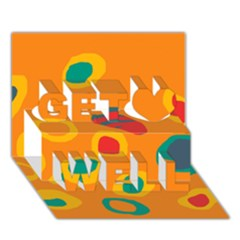 Orange abstraction Get Well 3D Greeting Card (7x5)