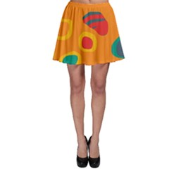 Orange abstraction Skater Skirt