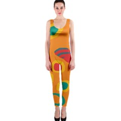 Orange abstraction OnePiece Catsuit