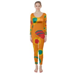 Orange abstraction Long Sleeve Catsuit