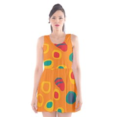 Orange abstraction Scoop Neck Skater Dress