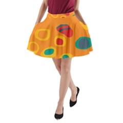 Orange abstraction A-Line Pocket Skirt